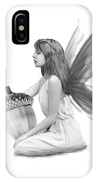 Oak Tree Fairy With Acorn B And W IPhone Case