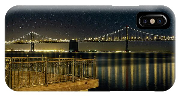 Oakland Bay Bridge By The Pier In San Francisco At Night IPhone Case