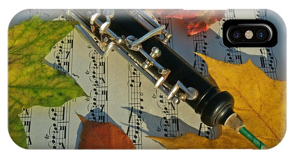 Uplift iPhone Case - Oboe And Sheet Music On Autumn Afternoon by Anna Lisa Yoder