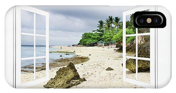 Ocean Front Beach Open White Picture Window Frame Canvas Art Vie IPhone Case