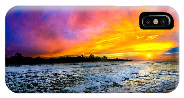 Ocean Sunset Landscape Photography Red Blue Sunset IPhone Case