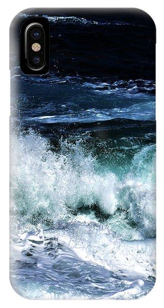Tidal Waves iPhone Case - Ocean Waves In Dark Blue by PrintsProject