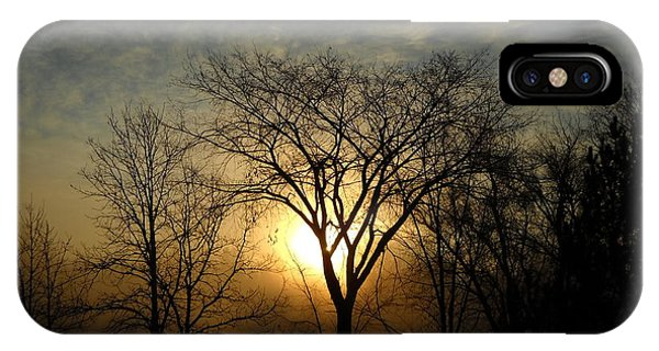 October Sunrise Behind Elm Tree IPhone Case