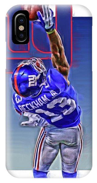 Ball iPhone Case - Odell Beckham Jr New York Giants Oil Art 2 by Joe Hamilton