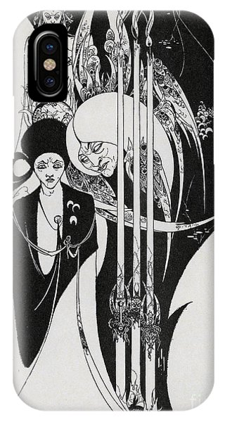 Sketch Pen iPhone Case - Of A Neophyte And How The Black Art Was Revealed Unto Him by Aubrey Beardsley