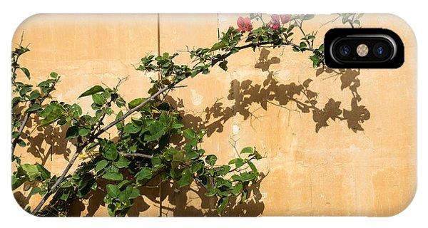Timeworn iPhone Case - Of Light And Shadow - Bougainvillea On A Timeworn Plaster Wall by Georgia Mizuleva