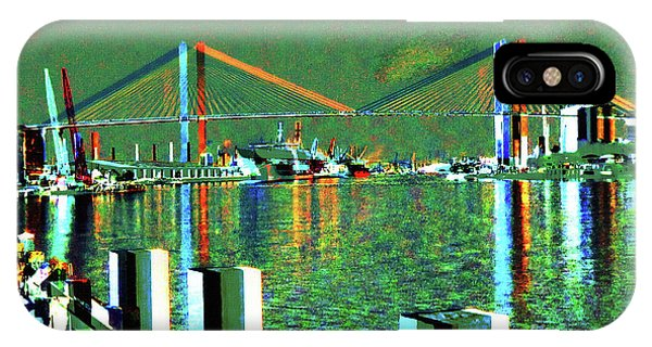 IPhone Case featuring the mixed media Of Time And The Savannah River Bridge by Aberjhani