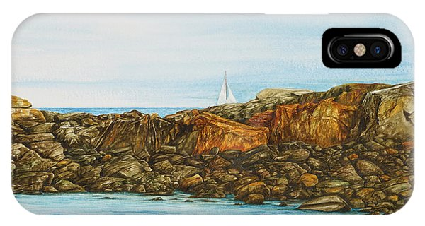 Ogunquit Maine Sail And Rocks IPhone Case