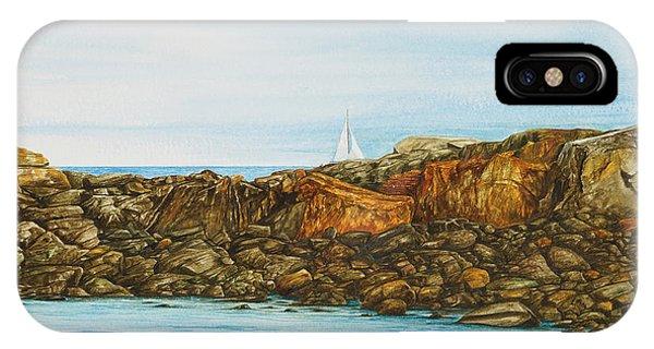 Ogunquit Maine Sail And Rocks IPhone Case