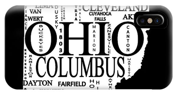 IPhone Case featuring the mixed media Ohio City Typography Map by Dan Sproul