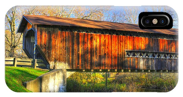 Kingsville iPhone Case - Ohio Country Roads - Benetka Road Covered Bridge Over The Ashtabula River - Ashtabula County by Michael Mazaika