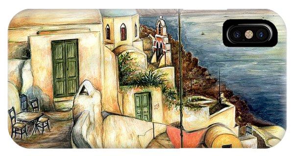 Oia Santorini Greece - Watercolor IPhone Case