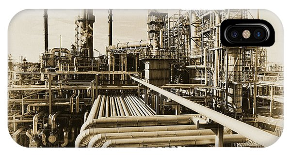 Oil Refinery In Old Vintage Processing Concept IPhone Case