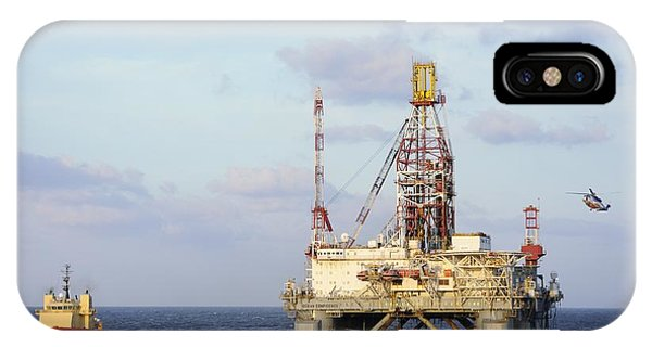 IPhone Case featuring the photograph Oil Rig With Helicopter And Support Vessel by Bradford Martin