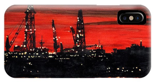 Oil Rigs Night Construction Portland Harbor IPhone Case