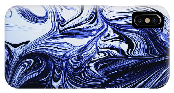 Oil Swirl Blue Droplets Abstract I IPhone Case