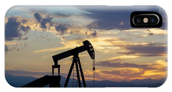 Oil Well Pump Silhouette  IPhone Case