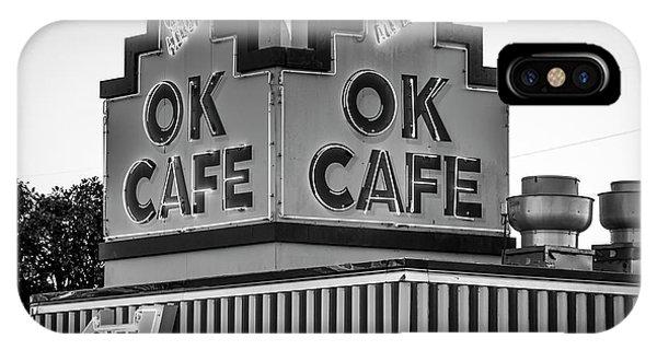 Ok Cafe Neon 2 B W Atlanta Classic Landmark Restaurant Art IPhone Case