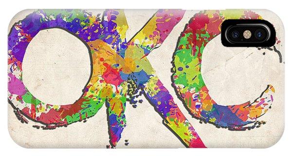 Ok iPhone Case - Okc Typography Watercolor by Ricky Barnard