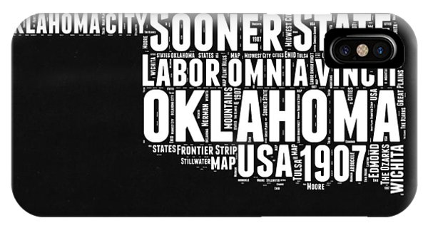 Oklahoma iPhone Case - Oklahoma Black And White Map by Naxart Studio