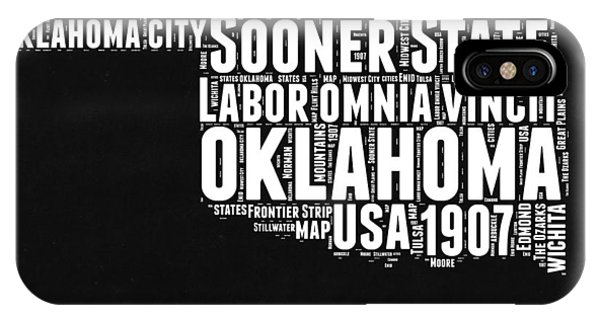 Oklahoma Black And White Map IPhone Case