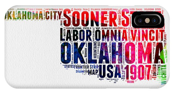 Oklahoma iPhone Case - Oklahoma Watercolor Word Cloud  by Naxart Studio
