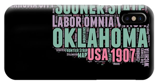 Oklahoma iPhone Case - Oklahoma Word Cloud 1 by Naxart Studio