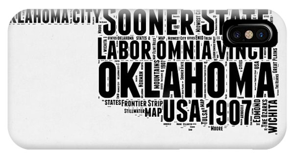 Oklahoma iPhone Case - Oklahoma Word Cloud 2 by Naxart Studio