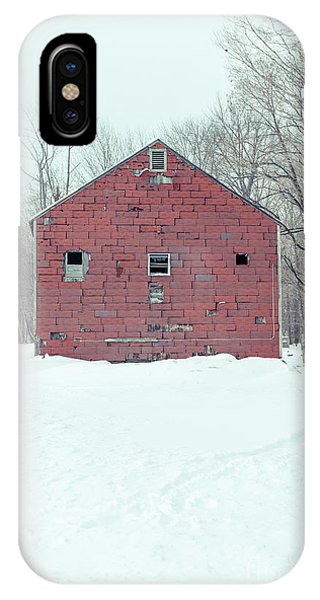 New England Barn iPhone Case - Old Abandoned Barn In Winter by Edward Fielding