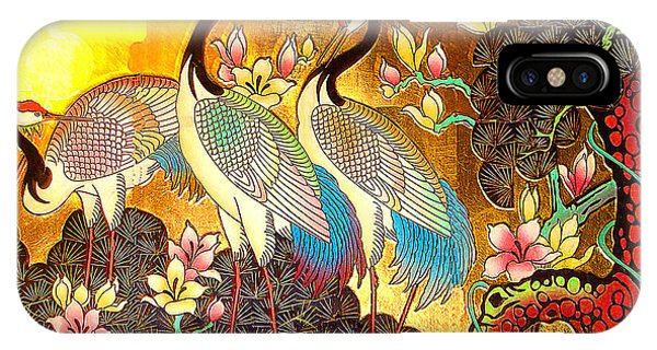 Old Ancient Chinese Screen Painting - Cranes IPhone Case