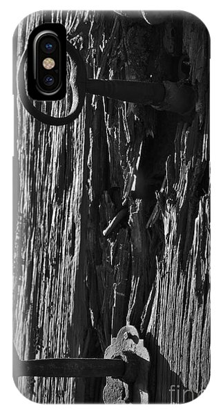 Old And Abandoned Wooden Door With Skeleton Keys IPhone Case