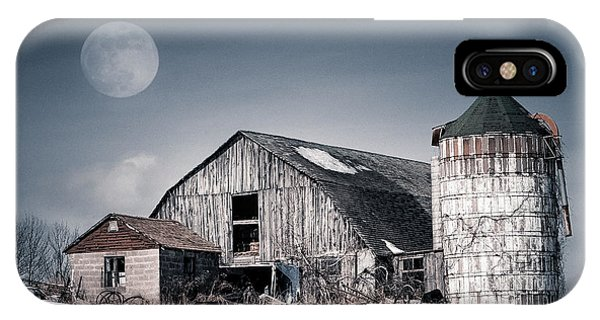 Old Barn And Winter Moon - Snowy Rustic Landscape IPhone Case