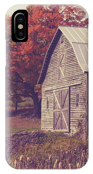 New England Fall Foliage iPhone Case - Old Barn In Vermont by Edward Fielding