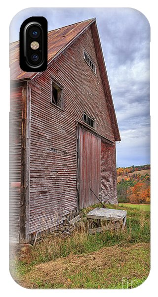 New England Barn iPhone Case - Old Barn Jericho Hill Vermont In Autumn by Edward Fielding