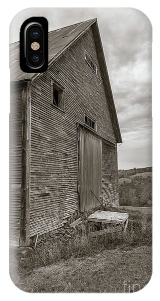 New England Barn iPhone Case - Old Barn Jericho Hill Vermont In Autumn Sepia by Edward Fielding