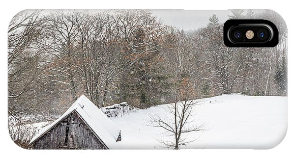 New England Barn iPhone Case - Old Barn On A Winter Day Wide View by Tim Kirchoff