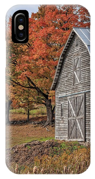 New England Barn iPhone Case - Old Barn With New England Foliage by Edward Fielding
