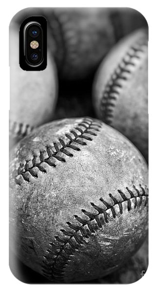 IPhone Case featuring the photograph Old Baseballs In Black And White by Edward Fielding