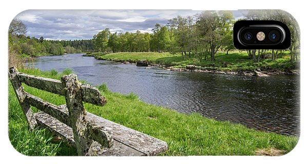 Old Bench Along Spey River, Scotland IPhone Case