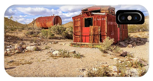 Red Caboose iPhone Case - Old Caboose At Rhyolite by James Eddy