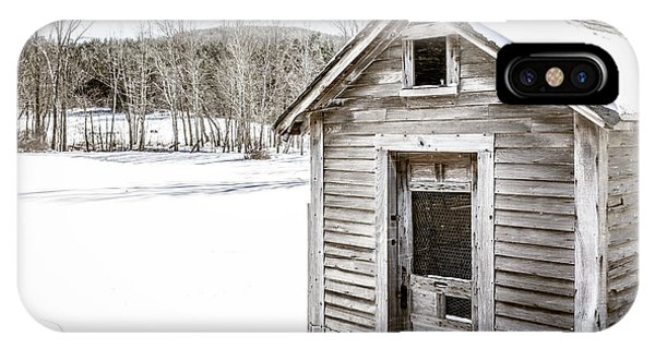 New England Barn iPhone Case - Old Chicken Coop In Winter by Edward Fielding