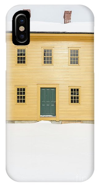 New England Barn iPhone Case - Old Colonial Era Period House In Winter by Edward Fielding