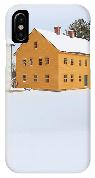 New England Barn iPhone Case - Old Colonial Wood Framed Houses In Winter by Edward Fielding