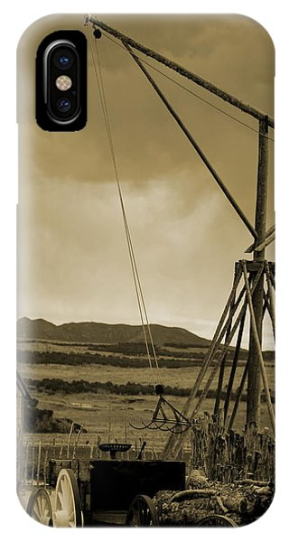 Old Crane And Shed Utah Countryside In Sepia IPhone Case