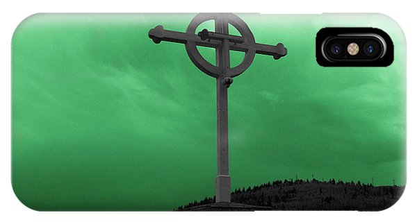 Old Cross - Green Sky IPhone Case