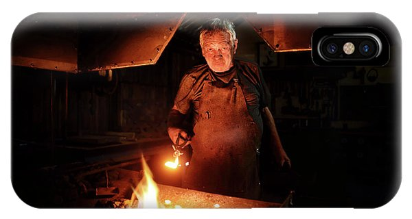 Old Fashioned iPhone Case - Old-fashioned Blacksmith Heating Iron by Johan Swanepoel
