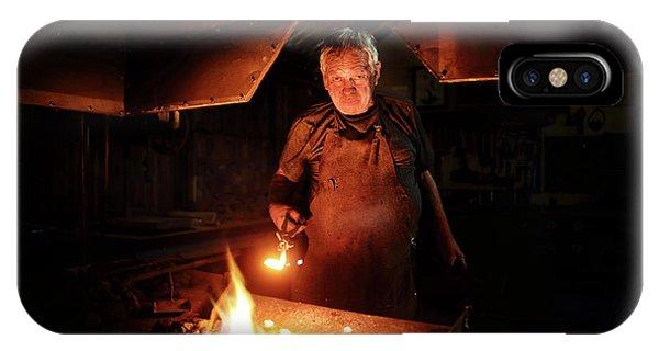 Craftsman iPhone Case - Old-fashioned Blacksmith Heating Iron by Johan Swanepoel