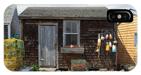 Nubble Light iPhone X Case - Old Fishing  Houses  by Emmanuel Panagiotakis