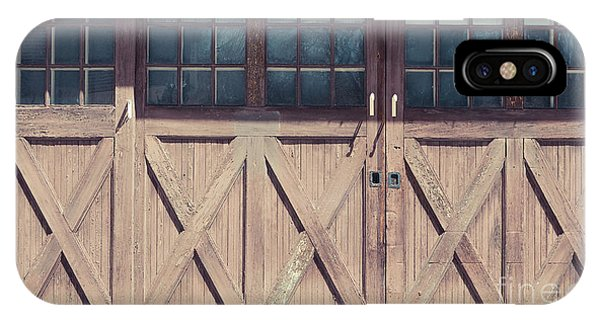 New England Barn iPhone Case - Old Garage Doors Portsmouth Nh by Edward Fielding