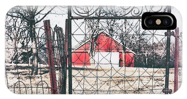 IPhone Case featuring the photograph Old Gate Red Barn View by Anna Louise
